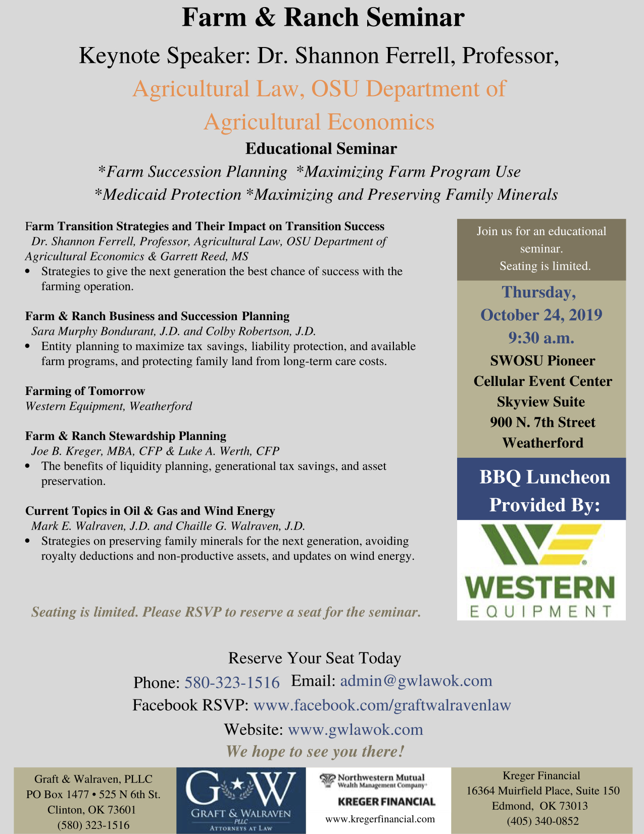 Learn about our Farm and Ranch Attorneys with this seminar.